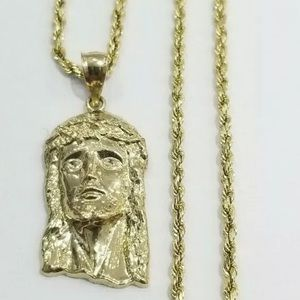 Real 10K Gold Jesus Head & Real Gold Rope Chain